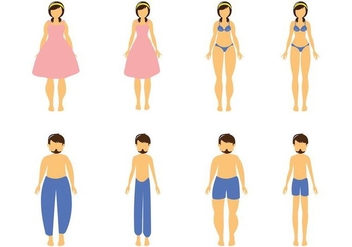 Free Cartoon Fat and Slim Woman and Man Vector - Kostenloses vector #412243