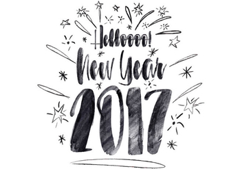 Free Hello New Year Watercolor Vector - Free vector #412513