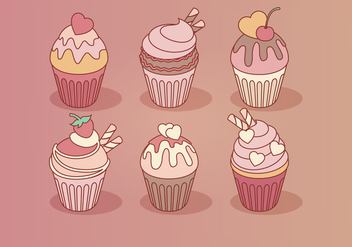 Vector Valentine's Day Cupcakes - vector gratuit #412603