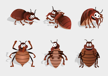 bed bug cartoon character vector - vector gratuit #412843