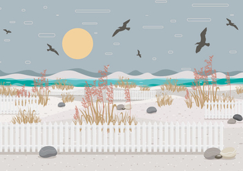 Sea Oats Landscape 2 Vector - бесплатный vector #412863