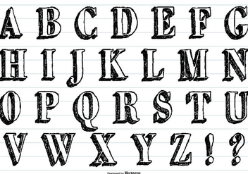 Hand Drawn Sketchy Vector Alphabet - vector #413313 gratis
