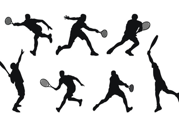 Tennis Player Silhouette - Free vector #413443