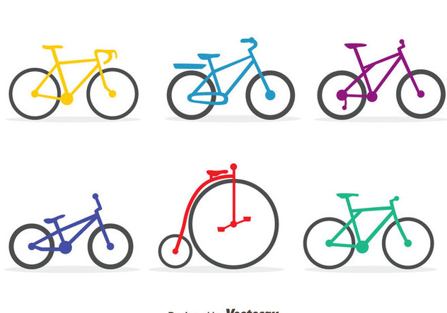 Colorful Bicycle Vector Set - vector gratuit #413493