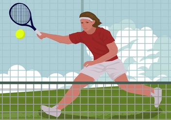 Man Playing Tennis Illustration - Free vector #413573