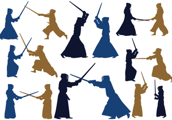 Japanese Kendo Silhouettes - Kostenloses vector #413753
