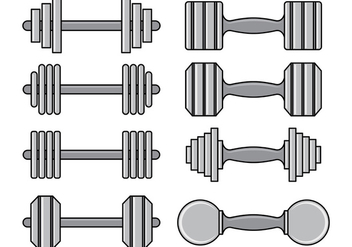 Set Of Dumbell Icons - Free vector #414263