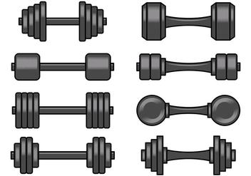 Set Of Dumbell Icons - vector #414273 gratis