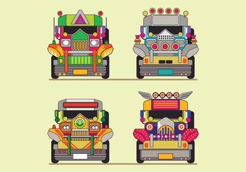 Philippine Jeep Icon or Jeepney Front View - Free vector #414343
