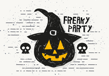 Freaky Halloween Pumpkin Vector Illustration - Free vector #414453