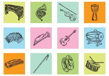 Hand Drawn Music Instrument - vector gratuit #414993