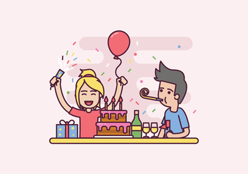 Free Birthday Party Illustration - vector gratuit #415023