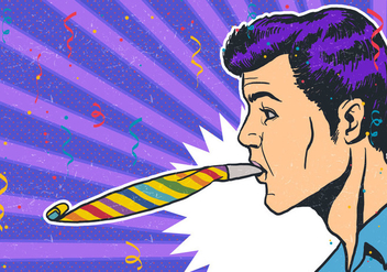 Man Party Blower Vector - бесплатный vector #415163