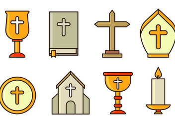 Set Of Holy Week Icons - Free vector #415373