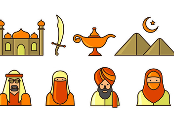 Set Of Sultan Icons - vector #415443 gratis