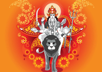 Vector Illustration of Goddess Durga in Subho Bijoya - бесплатный vector #415593