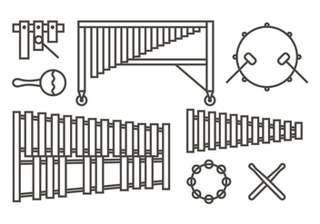 Marimba music icons - Free vector #415633