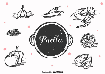Hand Drawn Paella Vector - бесплатный vector #415883