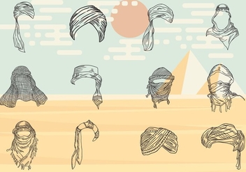 Turban Headers Eastern People - vector #415903 gratis