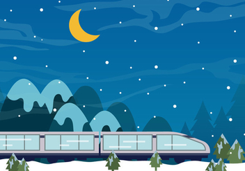Tgv Train In The Night Of Snow - vector gratuit #415963