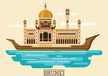 Vector Illustration of Sultan Omar Ali Saifuddien Mosque in Brunei - бесплатный vector #416013
