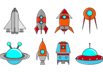 Set Of Starship Icons - Free vector #416583