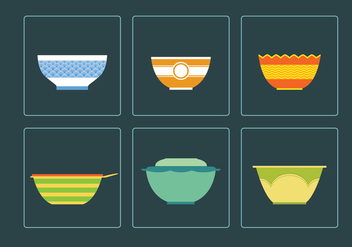 Six Beautiful Bowl Vectors - бесплатный vector #416623