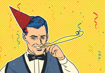 Man With Party Blower - vector #416643 gratis