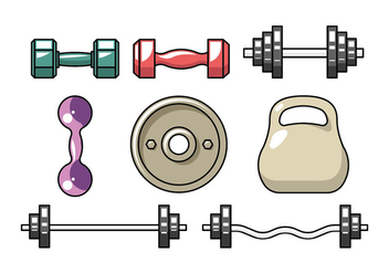 Dumbell flat icons - Free vector #416653