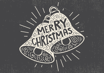 Free Vintage Hand Drawn Christmas Bell With Lettering - Free vector #416683