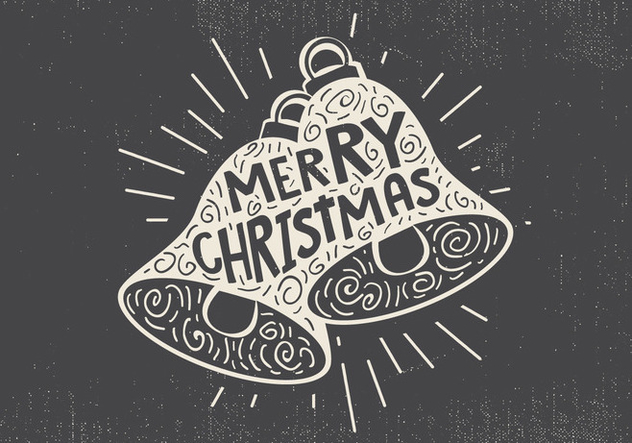 Free Vintage Hand Drawn Christmas Bell With Lettering - Kostenloses vector #416683