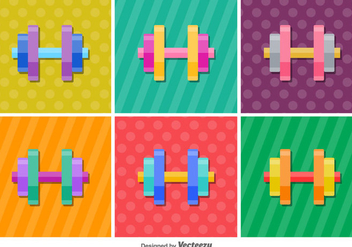 Dumbell Glossy Vector Icons - Free vector #416863