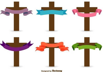 Catholic Cross Vector Icons - vector #416893 gratis
