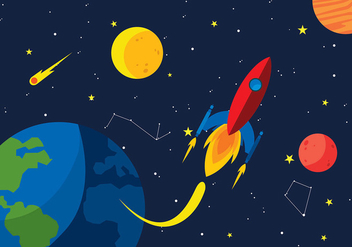 Starship Space Cartoon Free Vector - vector gratuit #417293