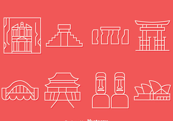 Country Landmark Line Icons Vector Set - vector gratuit #417463