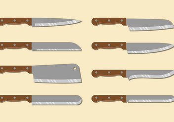 Set Of Kitchen Knives - vector gratuit #417573