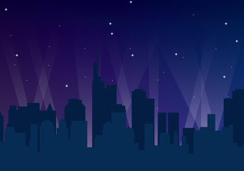 City Night Skyline - vector gratuit #417593