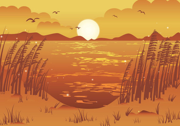Afternoon beach view sea oats illustration - Free vector #417623