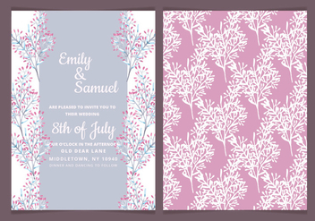 Vector Delicate Branches Wedding Invitation - vector gratuit #417873