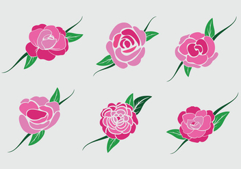 Pink camellia flower vector stock - бесплатный vector #417943