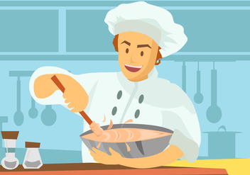 Chef Using Mixing Bowl Vector - Free vector #417973