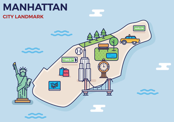 Free Manhattan Landmark Map - Free vector #417993