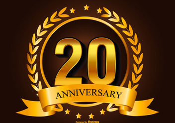 Golden 20th Anniverasry Illustration - Free vector #418013