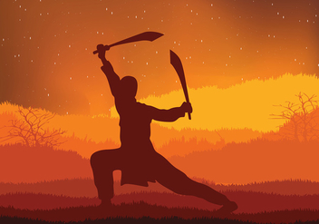 Wushu Night Training Free Vector - vector gratuit #418293