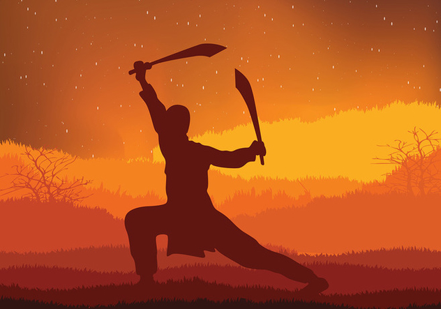 Wushu Night Training Free Vector - Free vector #418293
