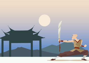 Shaolin Monk Performing Wushu With Sword Vector - vector gratuit #418363