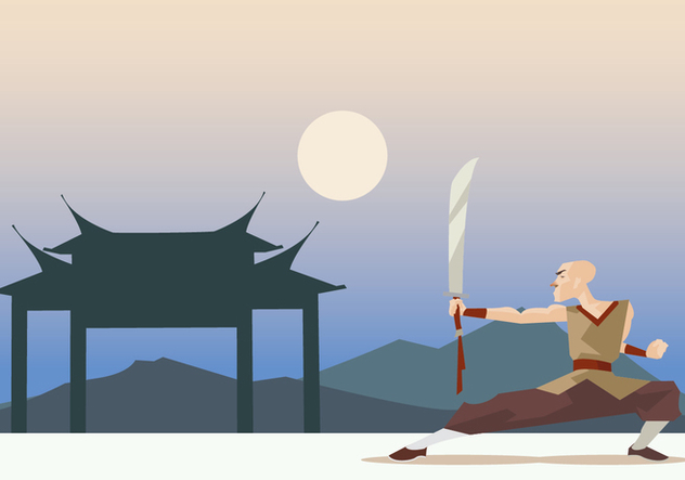 Shaolin Monk Performing Wushu With Sword Vector - Free vector #418363