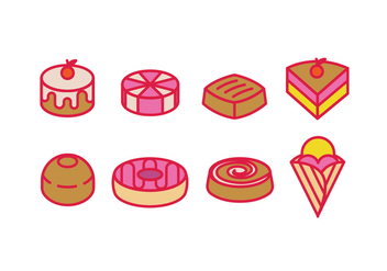 Pastry, sweetmeat, desserts and cakes - vector gratuit #418513