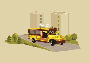 Jeepney traditional philippines bus transportation illustration - Free vector #418693