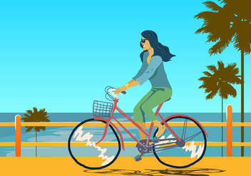 Girl on Bicicleta Vector - vector gratuit #418813